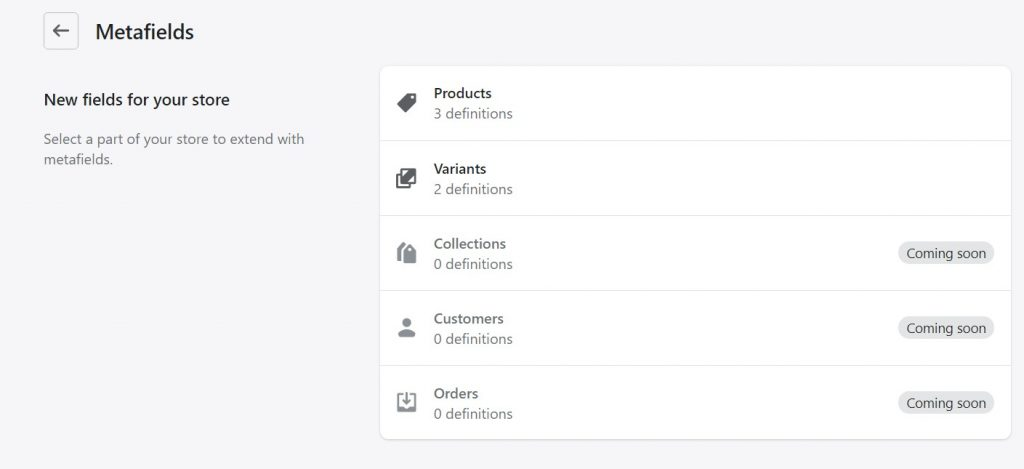 shopify metafields for products and variants